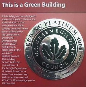LEED Platinum certification plaque at Saltwater Creek State Park, Ga.