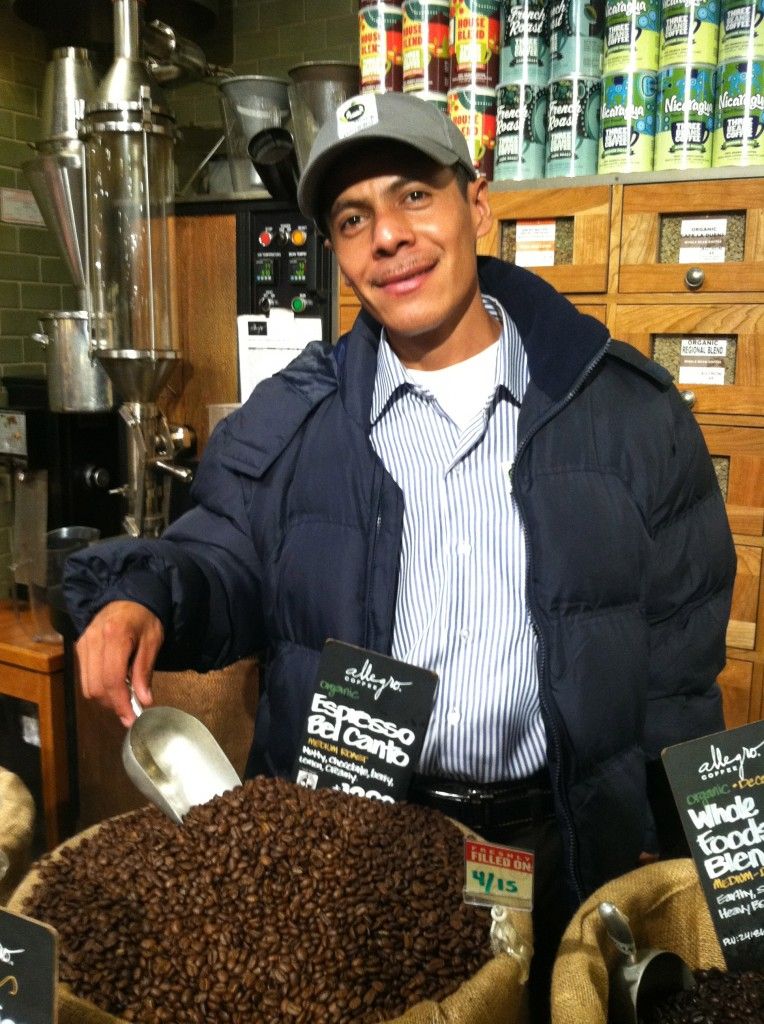 Leonardo see fair trade coffee at Whole Foods